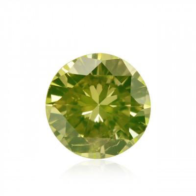 0.09 carat, Fancy Intense Green Yellow Diamond, Round Shape, (SI2) Clarity, GIA