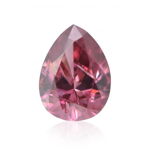 0.04 carat, Fancy Deep Purplish Pink Diamond, Pear Shape, (I2) Clarity, GIA
