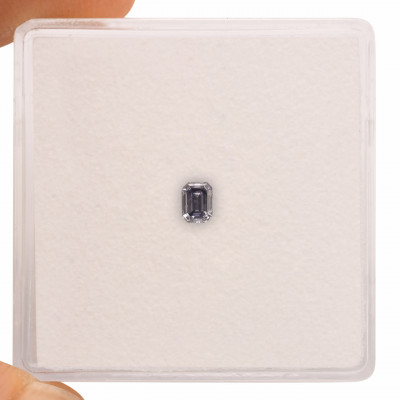 0.10 carat, Fancy Violet Gray Diamond, Emerald Shape, GIA