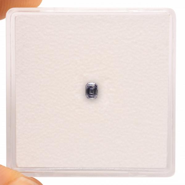 0.05 carat, Fancy Dark Violet Gray Diamond, Emerald Shape, GIA