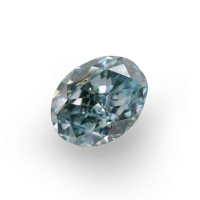 0.13 carat, Fancy Intense Bluish Green Diamond, Oval Shape, (SI1) Clarity, GIA