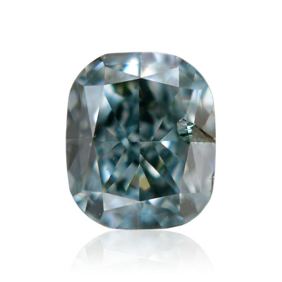 0.12 carat, Fancy Deep Bluish Green Diamond, Cushion Shape, (SI2) Clarity, GIA