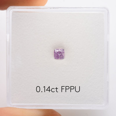 0.14 carat, Fancy Pink Purple Diamond, Cushion Shape, (SI2) Clarity, GIA