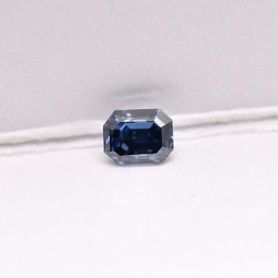0.12 carat, Fancy Deep Blue Diamond, Emerald Shape, (SI1) Clarity, GIA