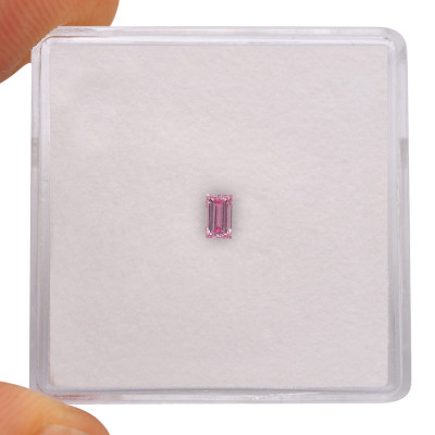 0.09 carat, Fancy Vivid Purplish Pink Diamond, Baguette Shape, (I1) Clarity, GIA