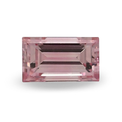 0.11 carat, Fancy Vivid Purplish Pink Diamond, Baguette Shape, (I1) Clarity, GIA