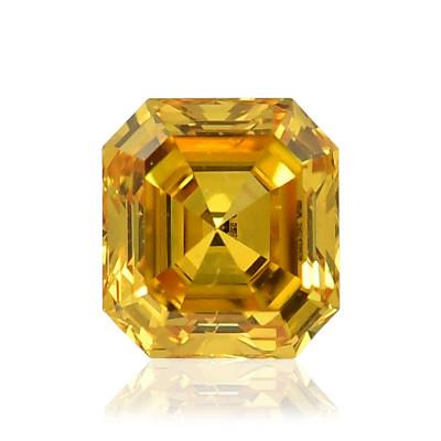 0.13 carat, Fancy Vivid Orange Yellow Diamond, Asscher Shape, GIA