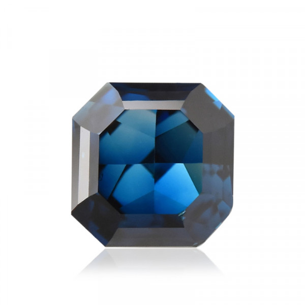 0.21 carat, Fancy Deep Greenish Blue Diamond, Asscher Shape, SI1 Clarity, GIA