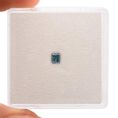 0.13 carat, Fancy Vivid Green Blue Diamond, Radiant Shape, (I1) Clarity, GIA