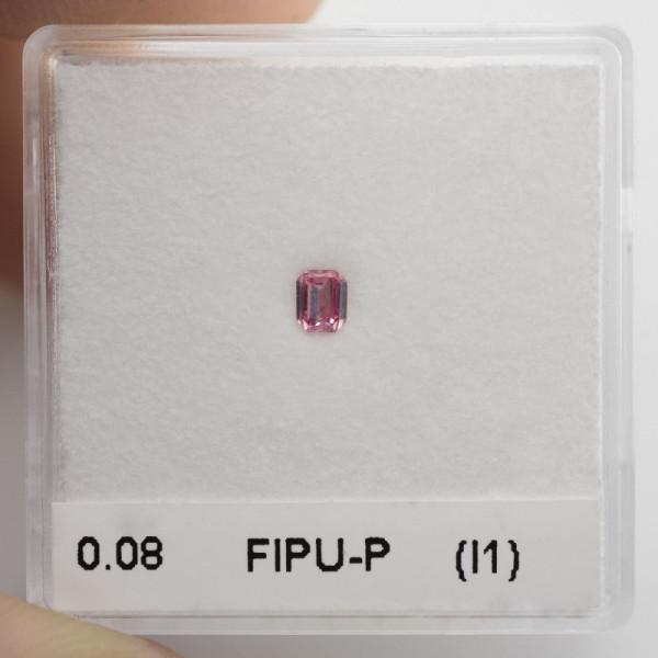0.08 carat, Fancy Intense Purplish Pink Diamond, Emerald Shape, (I1) Clarity, GIA