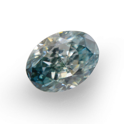 0.15 carat, Fancy Deep Bluish Green Diamond, Oval Shape, SI1 Clarity, GIA
