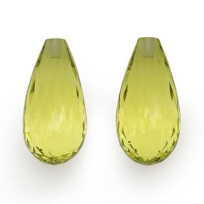 19.65 carat, Yellow, Citrine, Briolette Shape