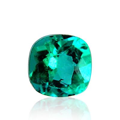 1.04 carat green Colombian emerald, cushion shape