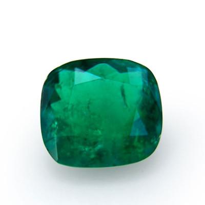 1.35 carat green Colombian emerald, cushion shape, small, CD-ROM