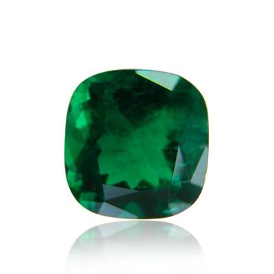 1.66 carat green Colombian emerald, cushion shape