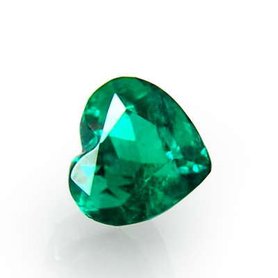 2.21 carat green Colombian emerald, heart shaped, small, CD-ROM