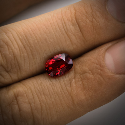 3.02 carat, Pigeon Blood MOZAMBIQUE Ruby Cushion Shape, No evidence of heat enhancement, GRS
