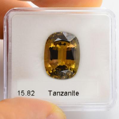 15.82 карат, золото, танзанит, формы валика, GWLAB