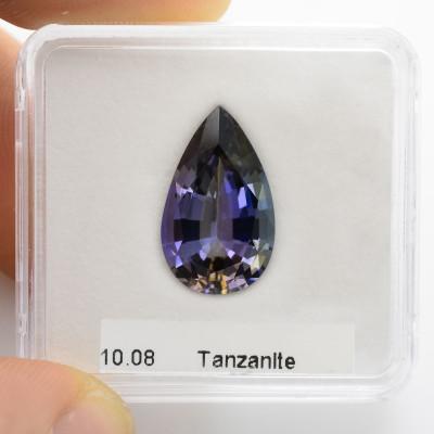 10.08 carat, Violet, Tanzanite, Pear Shape, GWLAB