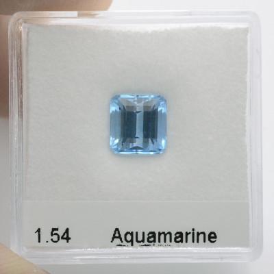 1.54 карат, синий, бразильский аквамарин, изумруд форму