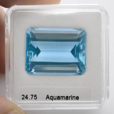 24.75 карата, синий, бразильский аквамарин, изумруд форму