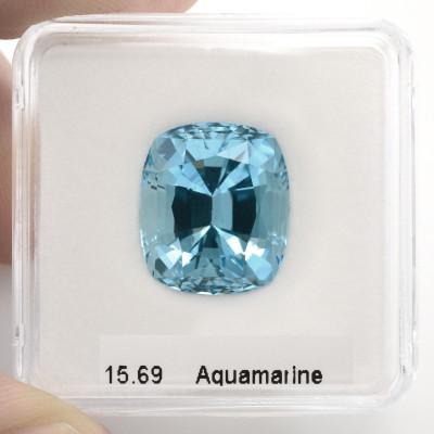15.69 карат, синий, Аквамарин, формы валика, GWLAB