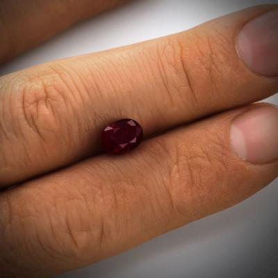 1.06 карат, Красное, Мозамбик Рубин, овальной формы