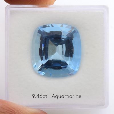 9.46 карат, голубой, Мадагаскар Аквамарин, форма валика, нет, GWLAB