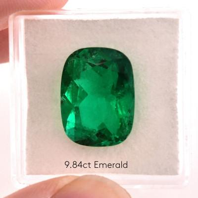 9.84 карат, зеленый, колумбийский изумруд, подушкообразной формы, мелкие, GUBELIN
