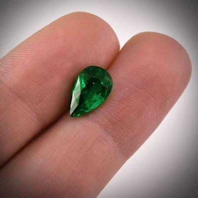 2,25 карат, зеленый, колумбийский изумруд, грушевидную форму
