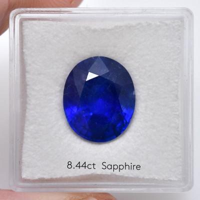 Карат 8.44, королевский синий, Бирманский Сапфир, овальной формы, гр