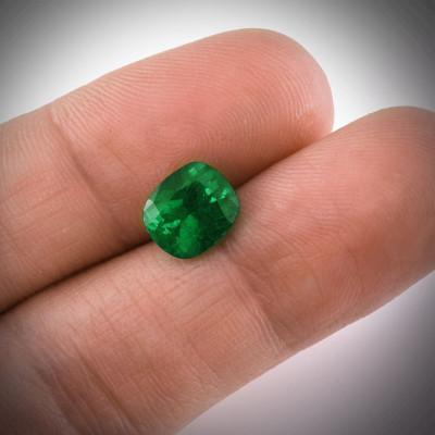 2.54 карат, зеленый, колумбийский изумруд, подушкообразной формы, мелкие, компакт-диск