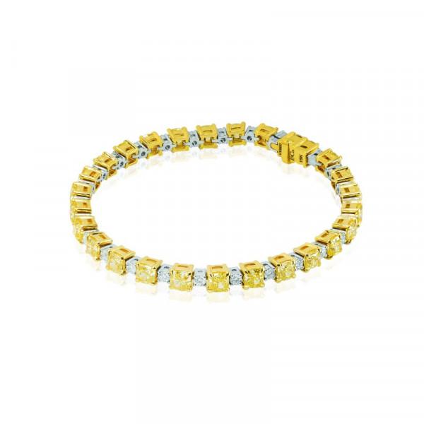 Fancy Yellow and White Cushion Diamond Bracelet (13.11Ct TW)