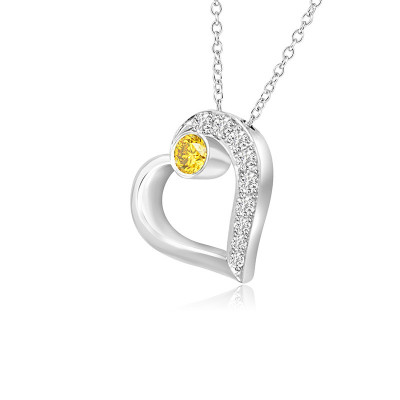 Fancy Vivid Yellow and White Pave Diamond Heart Pendant (0.22Ct TW)