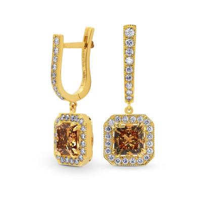 Fancy Yellow Brown Princess Diamond Drop Halo Earrings (2.74Ct TW)