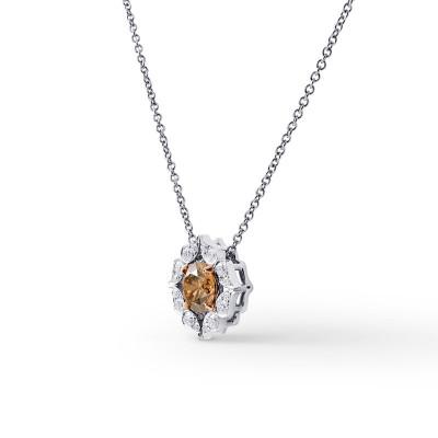 Fancy Brown Diamond Floral Halo Pendant (1.33Ct TW)
