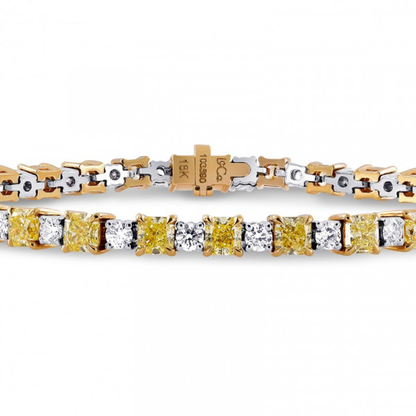Fancy Yellow Radiant and White Diamond Bracelet (8.37Ct TW)