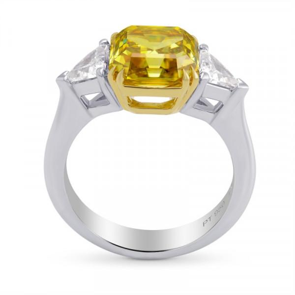 Fancy Deep Yellow Asscher Cut 3 Stone Diamond Ring (3.75Ct TW)