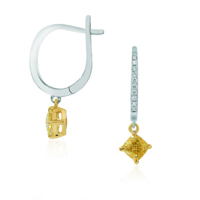 Fancy Intense Yellow Cushion Diamond Drop Earrings (1.18Ct TW)