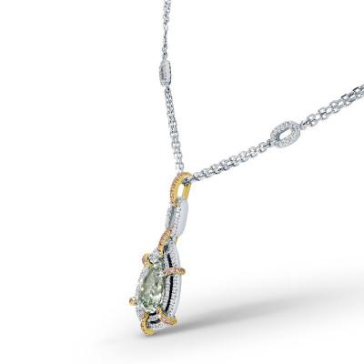 Fancy Yellowish Green Pear Diamond Necklace (2.06Ct TW)
