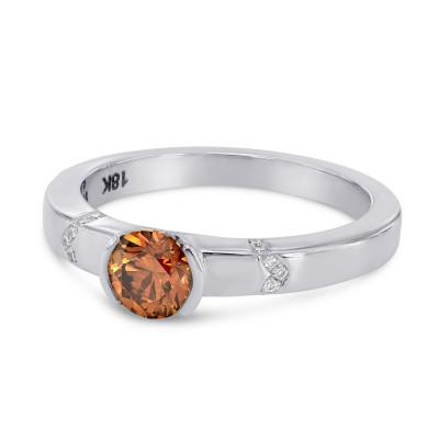 Fancy Deep Brownish Orange Diamond Ring (0.55Ct TW)