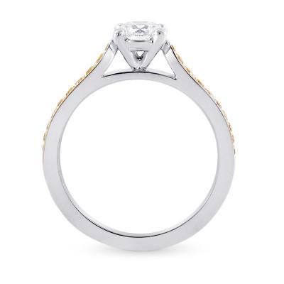 White F colored Brilliant Cut Diamond  Side Stone Ring (0.77Ct TW)