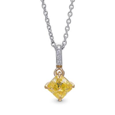 Fancy Intense Yellow Diamond Radiant Drop Pendant (0.75Ct TW)