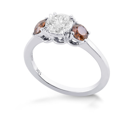 White and Fancy Dark Orange Brown Diamond Three Stone Ring (1.37Ct TW)