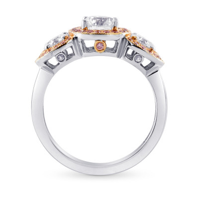 White and Fancy Pink Diamond 3 Stone Halo Ring (1.51Ct TW)