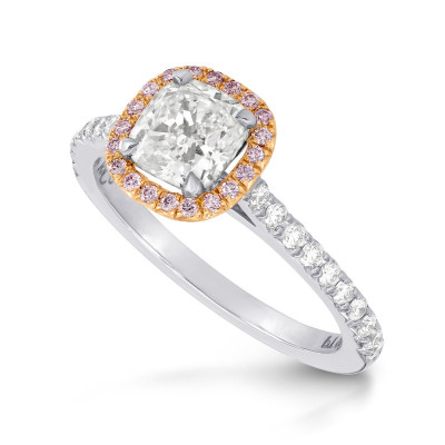 Collection White Cushion and Pink Diamond Halo Platinum Ring (1.38Ct TW)