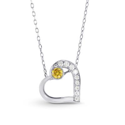 Fancy Vivid Orange Yellow and White Diamond Heart Pendant (0.13Ct TW)