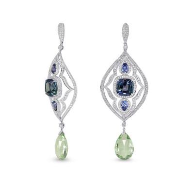 Tanzanite and Aquamarine Drop Diamond Earrings (14.25Ct TW)
