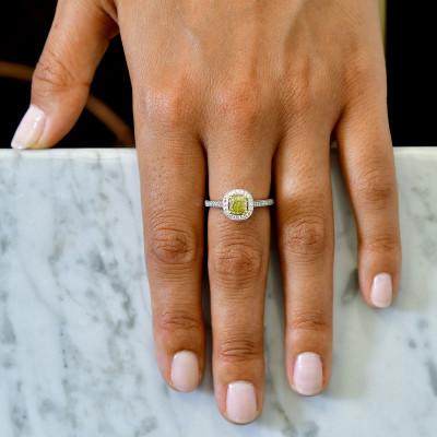 Fancy Intense Yellow Cushion Diamond Milgrain Halo Ring (1.24Ct TW)