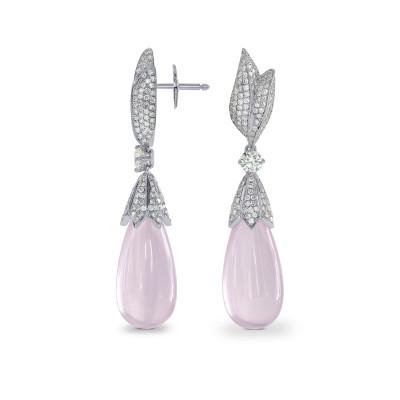 Rose Quartz and  Diamond Drop Earrings (27.77Ct TW)